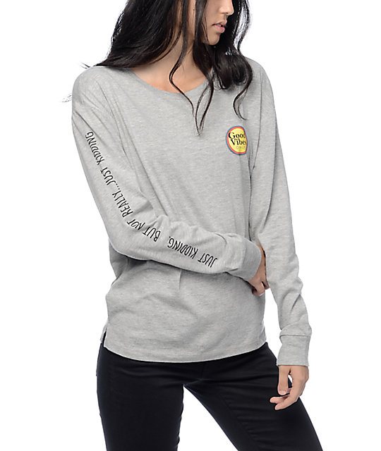 Pogo Good Vibes Grey Long Sleeve Shirt