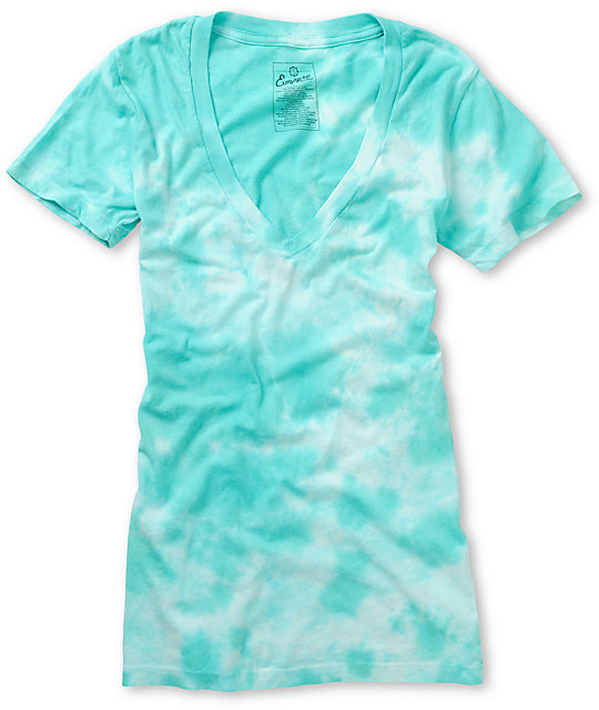 Empyre Pool Green Tie Dye V-Neck T-Shirt