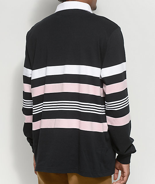 Empyre Preppin Long Sleeve Black, Pink & White Polo Shirt