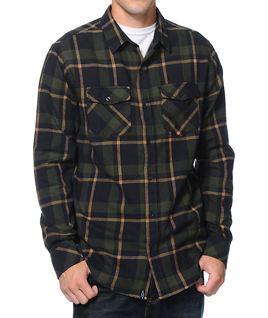 Empyre prey dark green plaid long sleeve flannel shirt for Green and black plaid flannel shirt