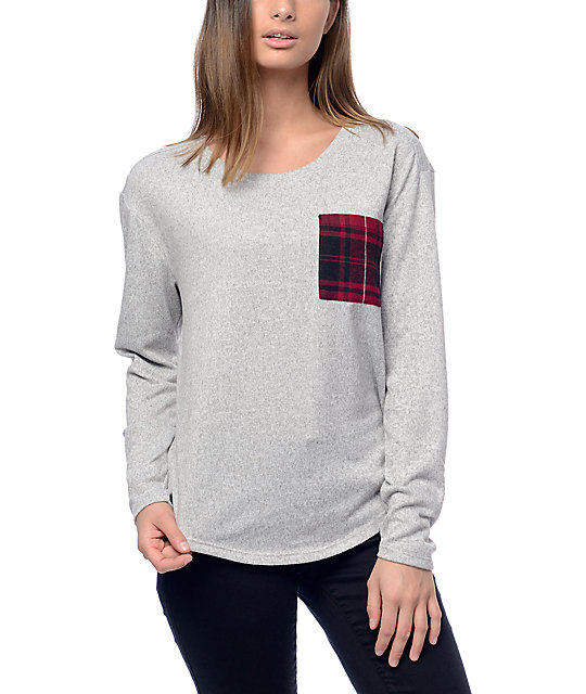 Empyre Prism Plaid Pocket Long Sleeve Sweater