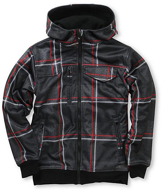 Empyre Proverb Black & Red Plaid Boys Tech Fleece Zip Up Hoodie