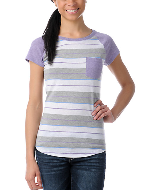 Empyre Purple Stripe Petra Cap Sleeve T-Shirt