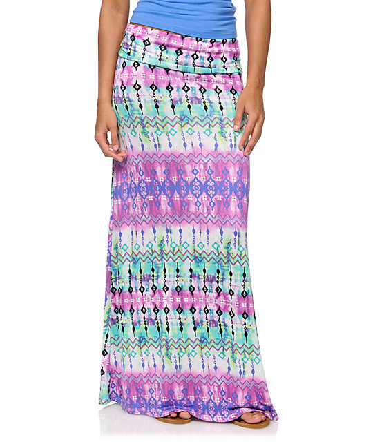 Empyre Purple Tie Dye Tribal Print Maxi Skirt