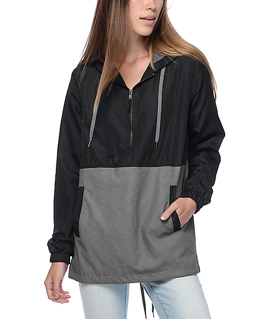 Empyre Quin Grey Suede & Black Lined Windbreaker Jacket at Zumiez ...