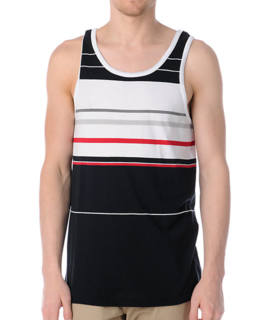 Empyre Raised Striped Black & Red Tank Top