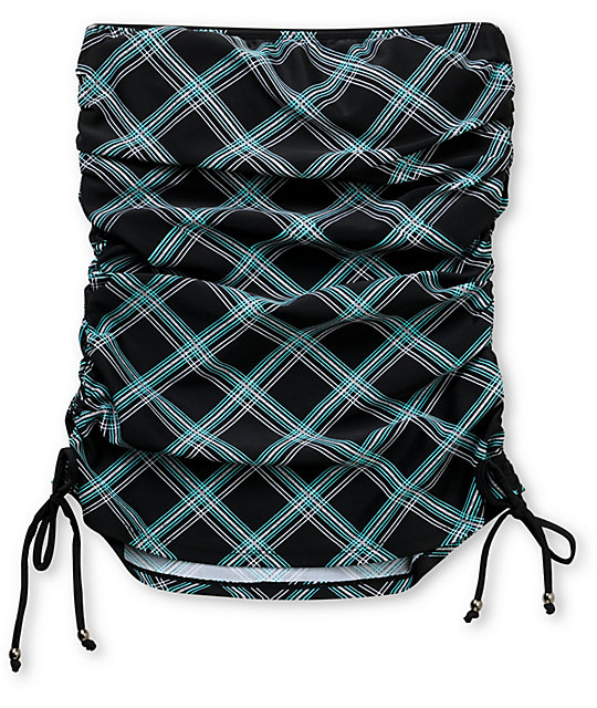 Empyre Ramey Black Plaid Tankini Top