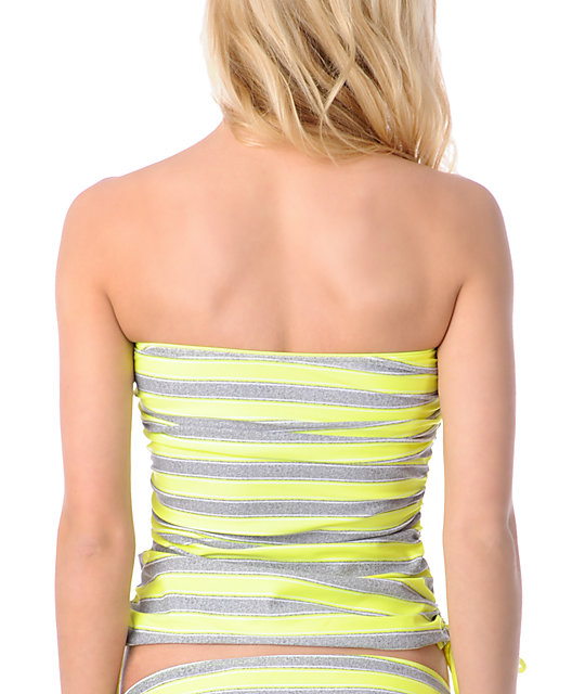 Empyre Ramey Grey & Yellow Stripe Tankini Top