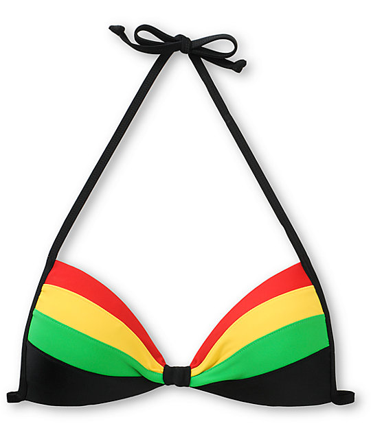 Empyre Rasta Color Block Molded Cup Bikini Top