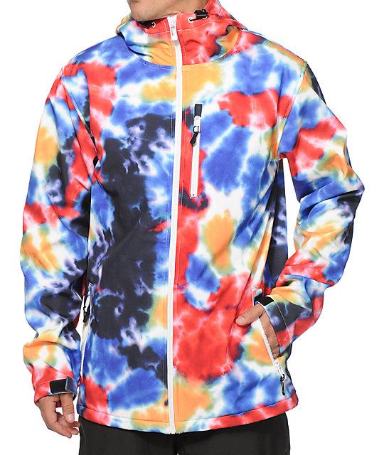 empyre reaction tie dye 10k softshell snowboard jacket at
