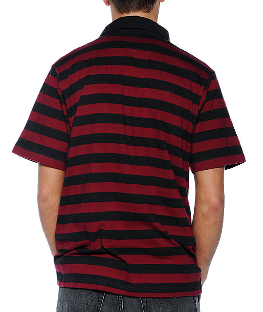 Empyre Rebel Burgandy Stripe Polo Knit