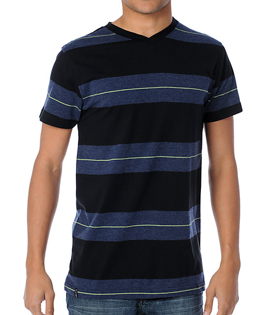 Empyre Recoil Black Striped Knit V-Neck T-Shirt