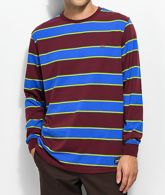 Recon Burgundy, Blue, Green & Yellow Striped Long Sleeve T-Shirt
