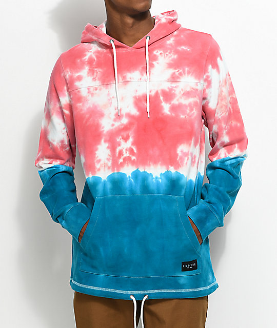 Empyre Reef Tie Dye Light Red & Blue Pull Over Hoodie