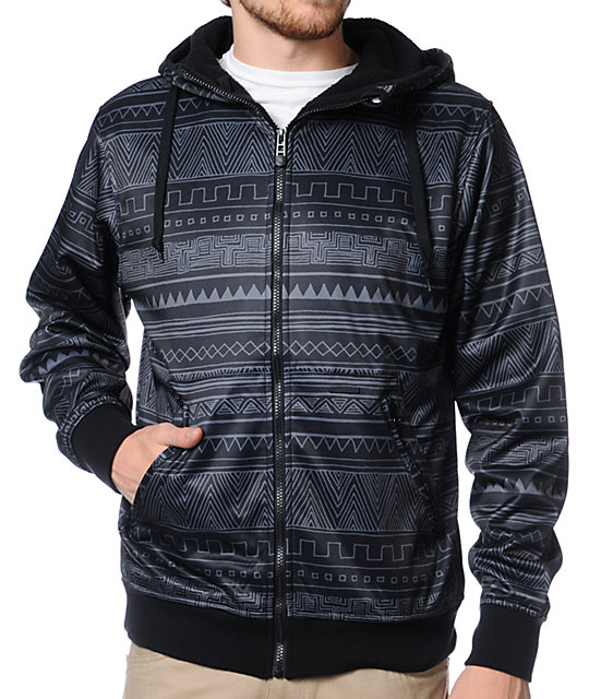 Empyre Reign Black Native Print Zip Up Tech Fleece Hoodie