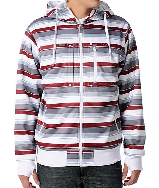 Empyre Revolution White Striped Sherpa Tech Fleece Jacket