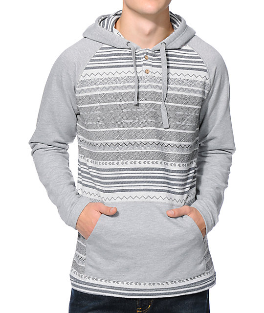 Empyre Rincon Grey & White Long Sleeve Hooded Henley Shirt