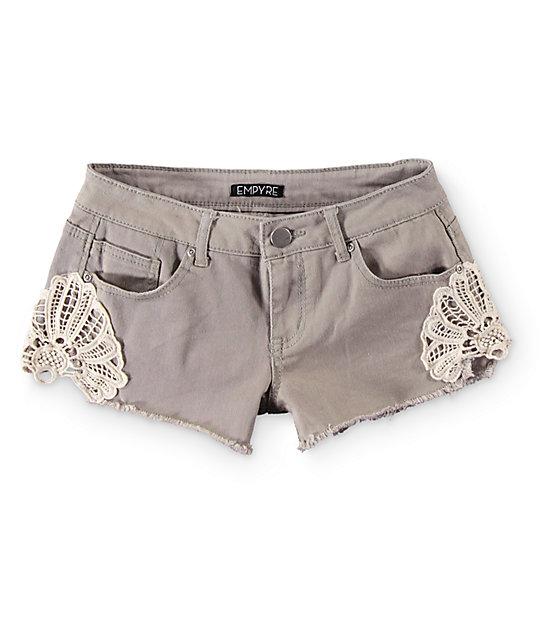 Empyre Rita Crochet Side Khaki Shorts