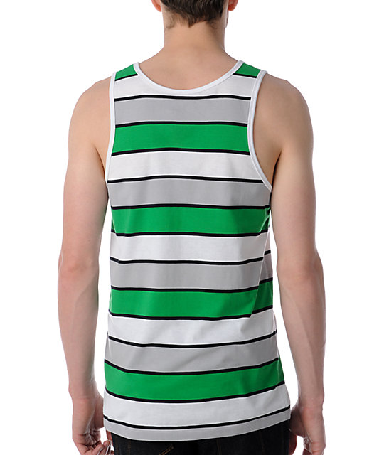 Empyre Roadhouse Green, White & Grey Striped Tank Top