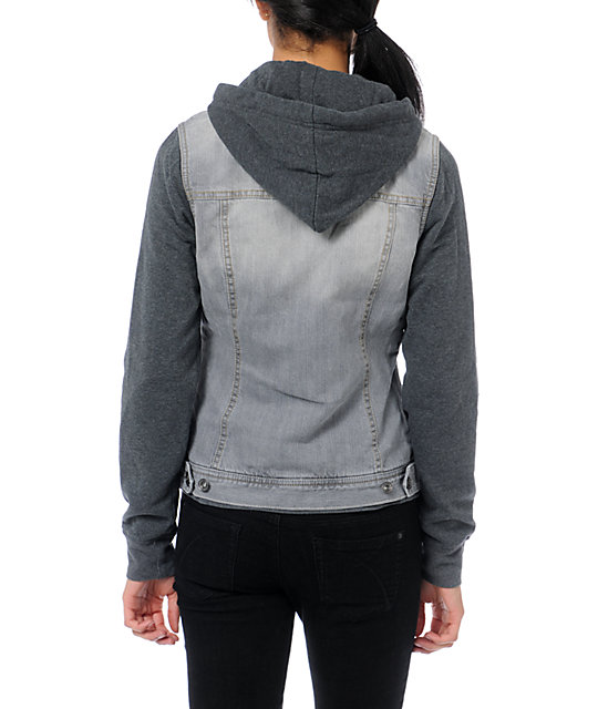 Empyre Roanoke Grey Hooded Vest Jacket