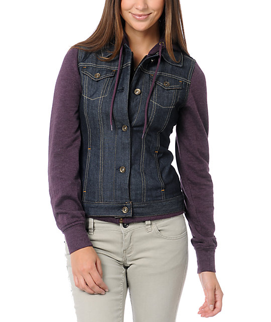 Empyre Roanoke Purple Hooded Denim Vest Jacket