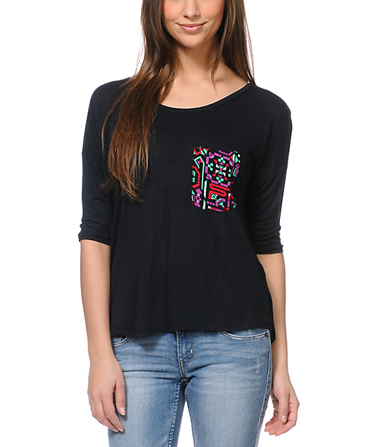 Empyre Rockridge Black Tribal Print Pocket Top