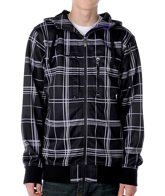 Empyre Roots Black Plaid Tech Fleece Jacket