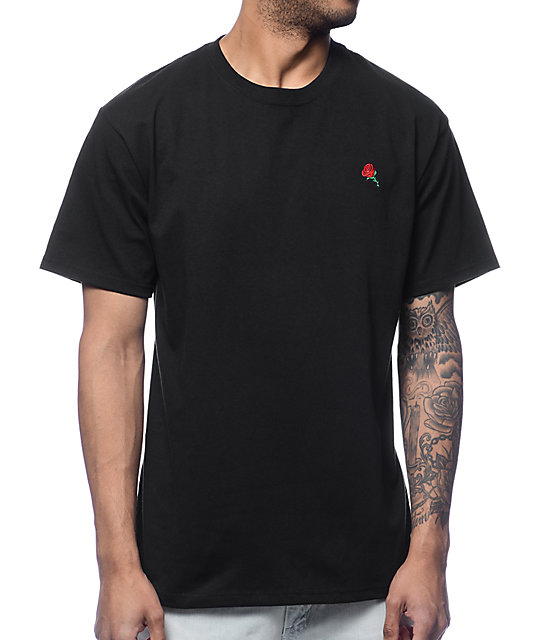 Rose Embroidery Black T-Shirt