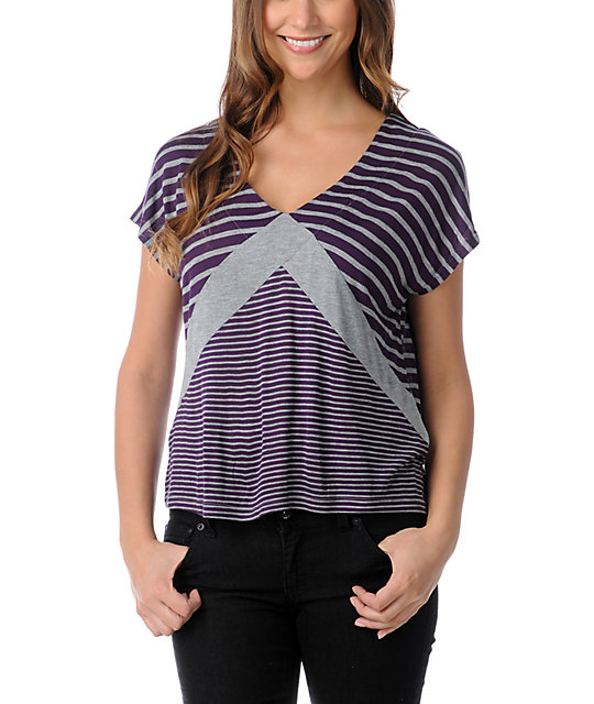Empyre Roslyn Purple & Heather Grey Stripe T-Shirt