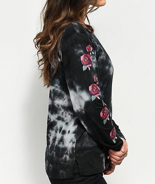 Empyre rubino roses black tie dye long sleeve t shirt for Order tie dye roses online
