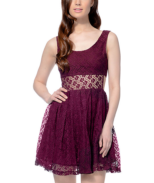 Empyre Sabina Crochet Blackberry Dress