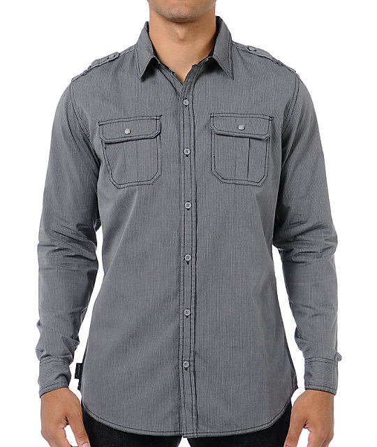 Empyre Saints Grey Stripe Long Sleeve Button Up Shirt