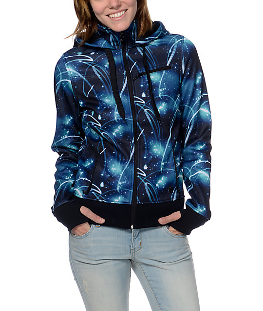 Empyre Sarana Galaxy Print Black Fleece Tech Jacket