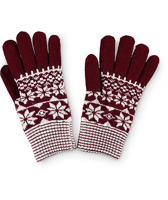Empyre Sasha Burgundy Fair Isle Gloves | Zumiez