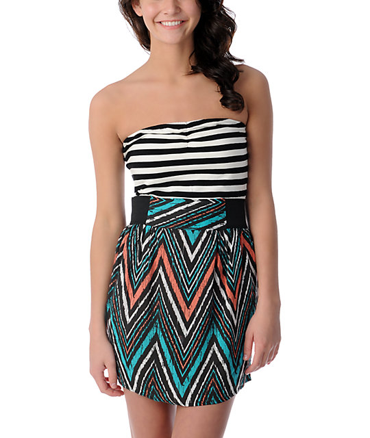 Empyre Savannah Tribal Black & White Stripe Twofer Dress