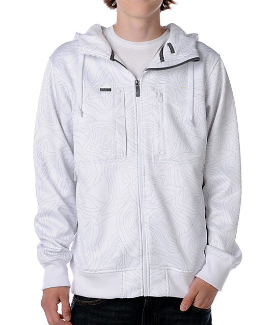 Empyre Schematic White Topo Tech Fleece Jacket
