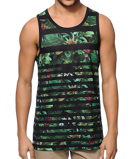Empyre Scroll Shock Green Tropical Stripe Tank Top