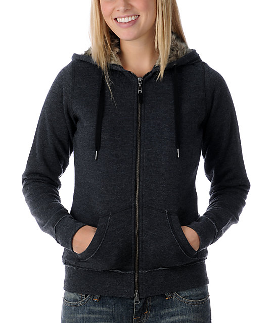 Empyre Secure Full Zip Faux Fur Black Zip Up Hoodie