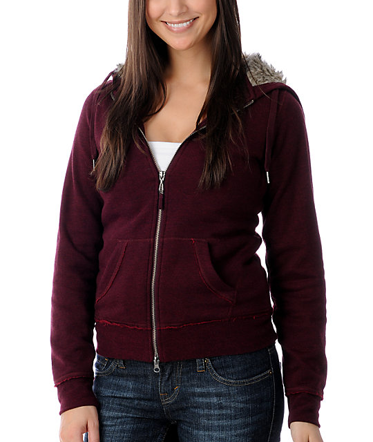 Empyre Secure Full Zip Faux Fur Wine Zip Up Hoodie