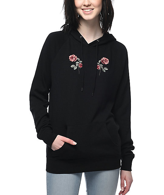 Empyre Seely Rose Embroidered Black Hoodie