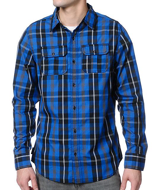 Empyre Shady Blue Plaid Button Up Shirt