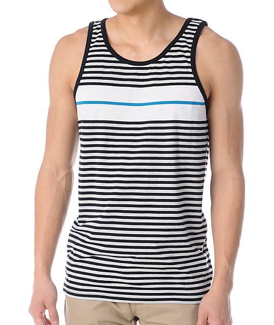 Empyre Shanty Blue & Black Striped Tank Top