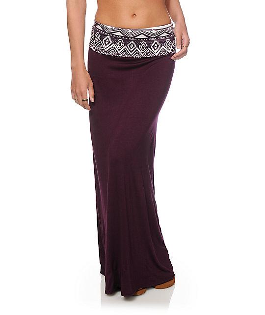 Empyre Shayla Blackberry Tribal Waist Maxi Skirt