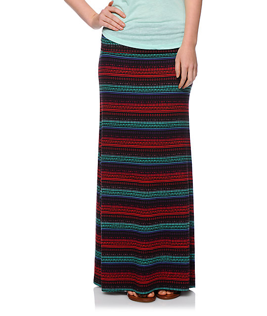 Empyre Shayla Multicolor Geo Tribal Print Maxi Skirt