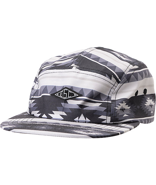 Empyre Shelter Black & Grey Tribal Print 5 Panel Hat