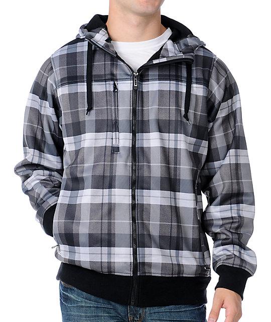 Empyre Sherman Grey Plaid Mens Tech Fleece Jacket