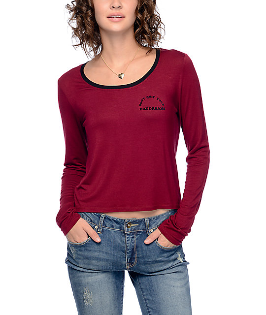 Empyre Shosh Dreams Burgundy & Black Long Sleeve Ringer T-Shirt