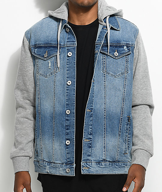 Empyre Sidecar Blue & Grey Denim Fleece Jacket | Zumiez