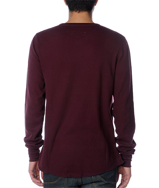 Empyre Singles Maroon Thermal Henley