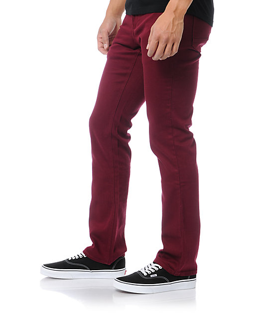 Empyre Skeletor Burgundy Red Skinny Jeans